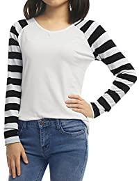 Allegra K Women's Striped Long Raglan Sleeves V Neck Tee Shirt