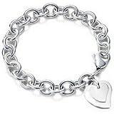 Designer Inspired Bracelet en argent sterling 925 à fermoir mousqueton et pendentif en forme de cœur double 20cm