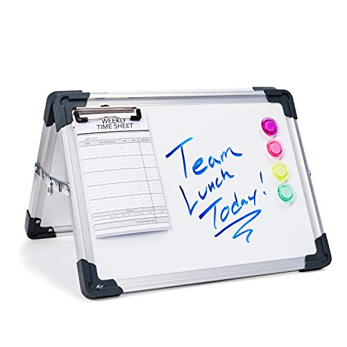 Juvale Foldable Magnetic Dry Erase Whiteboard Easel for Table Top, Double Sided with 4 Magnets Included, 11 x 15 x 0.6 Inches