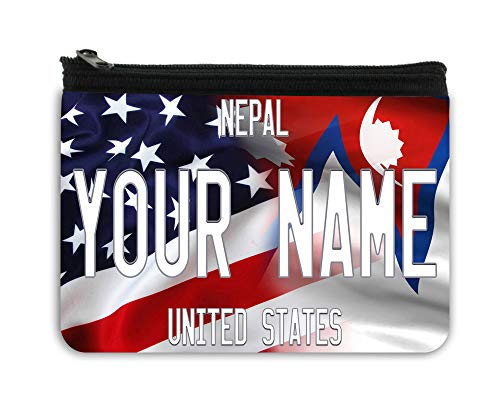 BRGiftShop Personalized Custom Name Mixed USA and Nepal Flag Neoprene Coin Purse