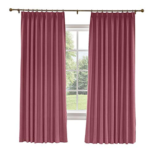 (CosyPages Pinch Pleated, 100W x 84L(1 Panel) Luxury Linen Polyester Window Drapery Curtain, Blackout Curtain, Burgundy Red, Curtain for Sliding Glass Door Patio Door Living Room)