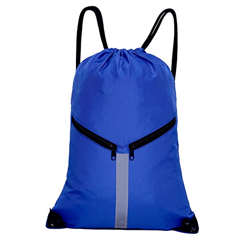 Royal Blue Drawstring Backpack - KORIDO Drawstring Backpack Unisex Sport Gym Sack Reflective Bag (Royal Blue)