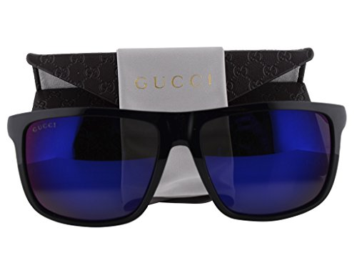 Gucci GG1075/S Sunglasses Shiny Black w/Gray Infrared Lens - 62mm Retro Sunglasses Gucci
