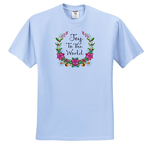 3dRose Anne Marie Baugh - Christmas - Pretty Poinsettia and Holly Berry Wreath with Joy to The World - T-Shirts - Light Blue Infant Lap-Shoulder Tee (18M) (ts_266735_75) -