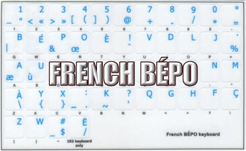 FRENCH BEPO KEYBOARD STICKERS BLUE LETTERING TRANSPARENT BACKGROUND FOR DESKTOP, LAPTOP AND NOTEBOOK