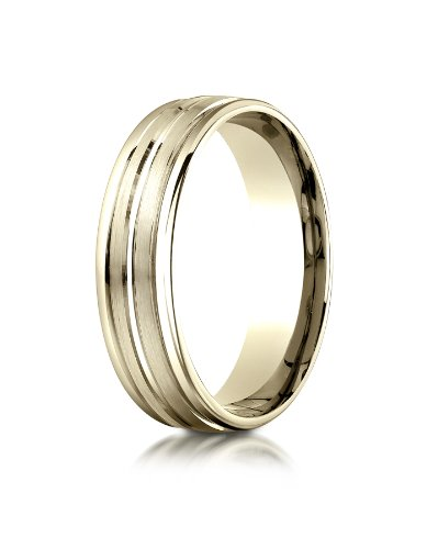 (10k Yellow Gold 6mm Comfort-Fit Satin-Finished High Polished Center Trim and Round Edge Carved Design Wedding Band Ring for Men & Women Size 4 to 15)