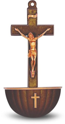 Bronze Colored Crucifix Plastic Holy Water Font