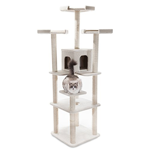Majestic Pet Products 80 inch Cream Bungalow Cat Furniture Condo House Scratcher Multi Level Pet Activity Tree ()
