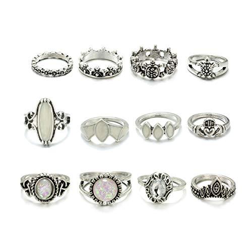 Gudukt 12PCS Bohemian Retro Vintage Crystal Joint Knuckle Ring Sets Finger - Joint Gold White Teen Ring