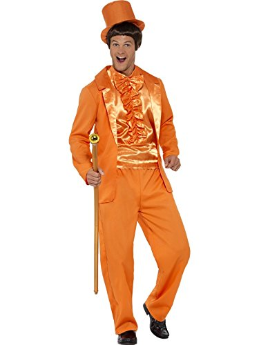 Orange Tuxedo Adult Costumes (Smiffy's Men's 90s Stupid Tuxedo Costume, Orange, Medium)
