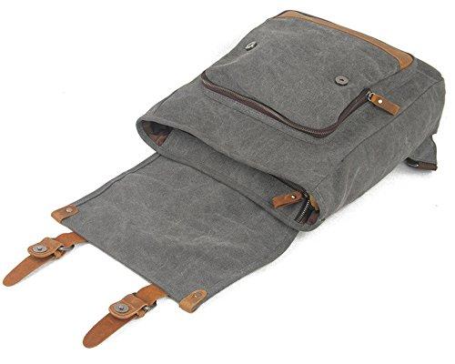 DoubleMay Damen Herren Vintage Retro Canvas Leder Rucksack Reisetasche Daypacks Uni Fashion Schultasche Backpack Laptoprucksack für Outdoor Sports Freizeit 30 x 11 x 38cm (Grün) Grau p3v66