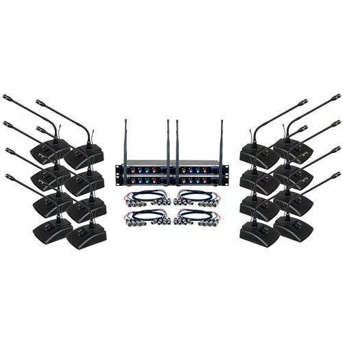 VocoPro Digital-Conference-16, 16 Channel UHF Wireless Conference Microphone System