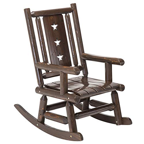 Wood Outdoor Rocking Chair Rustic Porch Rocker Heavy Duty Log Chair Wooden Patio Lawn Chairs Oversize Furniture for Adult (Renewed)