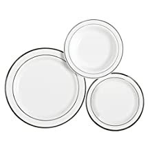"""Table To Go """"I Can't Believe It's Plastic"""" 75 Piece Dinnerware Set, 25 10"""" Dinner Plates, 25 7.5"""" Salad Plates and 25 18 oz Bowls, New Lines Design, White"""