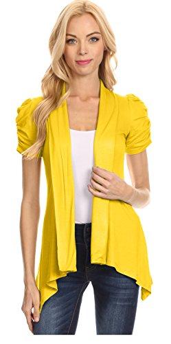 Open Short Sleeve Knit - Yellow Cardigan Womens Reg and Plus Size Knit Short Sleeve Open Cardigan, Yellow ,X-Large