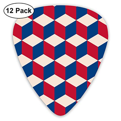 Cubic In Vintage Flag Colors Classic Celluloid Picks, 12-Pack, For Electric Guitar, Acoustic Guitar, Mandolin, And Bass
