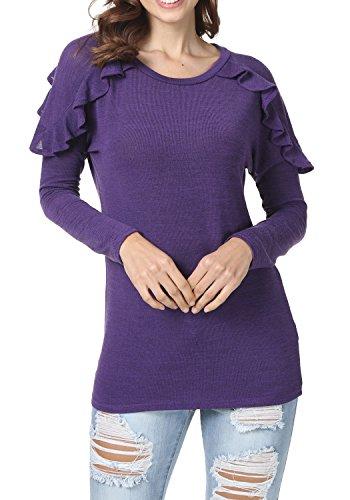 levaca Women's Ruffles Long Sleeve O Neck Loose Fit Casual Tunic Tops