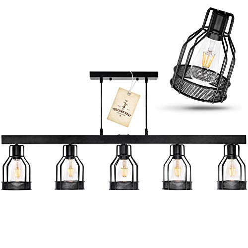 - Black Farmhouse Chandelier - Pendant Lighting for Kitchen Island, Dining Room Lighting Fixtures Hanging, Pool Table Light, Matte Black Iron Industrial Ceiling Light Fixture