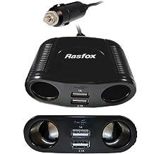 Rasfox 4-Way Car Power Convert Cigarette Lighter Socket Splitter With 2 USB 5V DC/1A/2.1A Charger