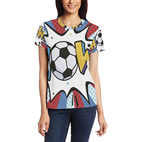 WIHVE Short Sleeve T-Shirt Wow Soccer Ball O-Neck Tops for Women
