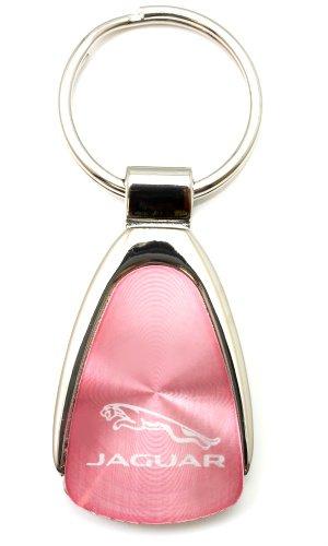 Premium Jaguar Logo Metal Chrome Tear Drop Key Chain Ring Fob by Au-tomotive Gold
