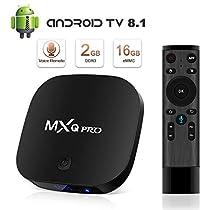 Android 8.1 TV Box, Superpow Smart TV Box Quad Core 2GB RAM+16GB ROM,widevine L1,4K*2K UHD H.265, HDMI, USB*2, WiFi Media Player, Android Set-Top Box con Telecomando Vocale