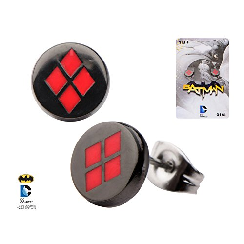 DC+Comics Products : Licensed DC Comics Black Plated Harley Quinn Logo Stud/Post Earrings (with Gift Box)