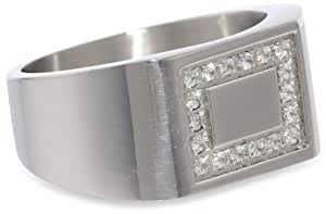 Men's Stainless Steel Square Cubic Zirconia Framed Ring, Size 9