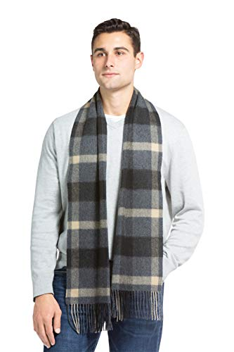 (Fishers Finery Men's 100% Pure Cashmere Scarf, Warm, Comfortable (Gry Cml Plaid))