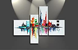 Ode-Rin Art Christmas Gift Hand Painted Abstract Oil Paintings Colorful Landmarked Tall Buildings 4 Panels Wood Framed Inside For Living Room Art Work Home Decoration