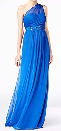 Embellished One Shoulder Gown - Adrianna Papell Womens Embellished One-Shoulder Gown Dress Blue 6