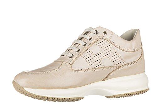Hogan scarpe sneakers donna in pelle nuove interactive h bucata beige