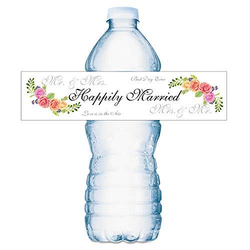 20 Floral Wedding Water Bottle Labels, Happily Married Waterproof Water Bottle Wrappers.