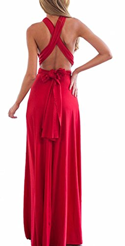 Dress Bridesmaid Multi Bandage Backless Women's Dress Long Red Halter Way Wrap Cocktail Infinity Gown Dress Sexyshine qS6W7w1q