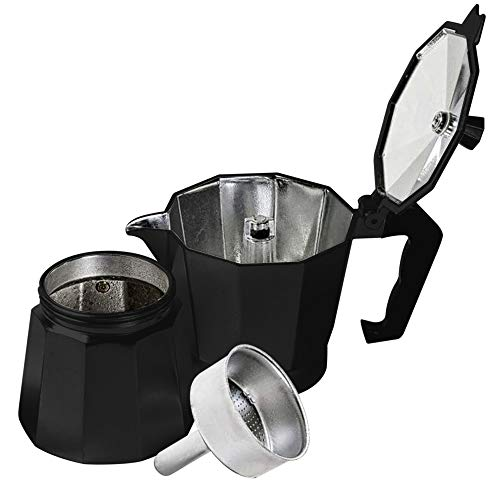 Innova Premium STEAM Stovetop Espresso Maker | Italian Moka, Coffee Percolator, Brewing Pot | Octagonal Design, Aluminium Steel, Insulated Handle | Good for 3 Cups 200ml - 6.5oz (Black)
