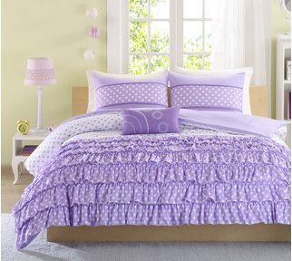 Mizone Girls 4-piece Comforter Set - Purple. Full/queen Girls Comforter Sets. Full or Twin Comforter Set for Teens. Gorgeous Purple Girls Bedding Sets. Your Girl Will Adore This Ruffled Bedding Set for Her Room. Includes Full Comforter (Full/queen) (Purple Girls Bedding)