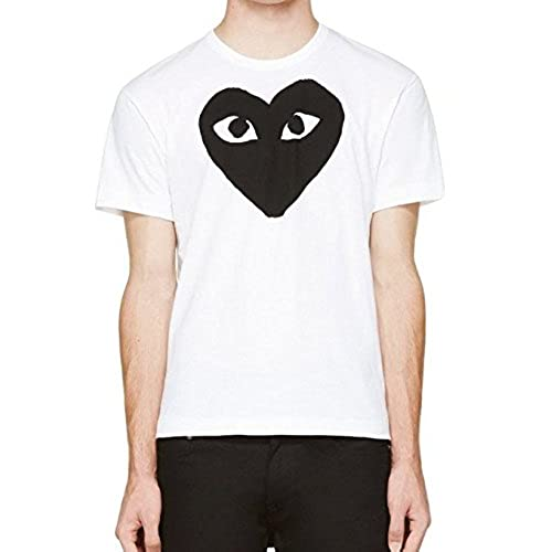 Comme des Garcons PLAY Men's Black Heart Print T-shirt, White & Black  (MEDIUM)
