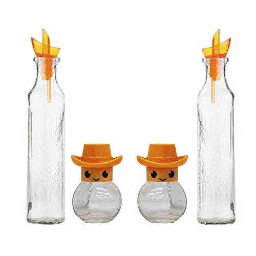 Juego de 2 aceiteras y 2 especieros HEREVIN'Friends' de Cristal, Naranja
