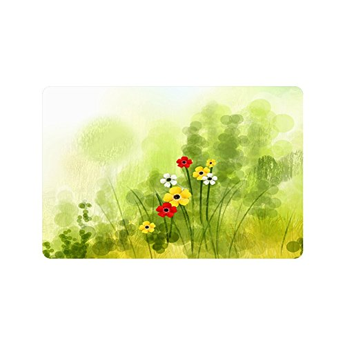 Jim Store Custom design Chrysanthemum green grass colorful Entrance Doormat Washable Rug Non Slip Mats Bathroom Kitchen Decor Doormat 23.6inch X 15.7inch (Jim Green Grass)