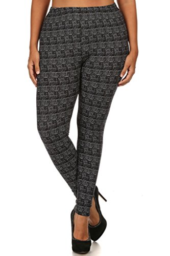 NioBe Women's Plus Size Fashion Design Leggings (One Size, Graphite)