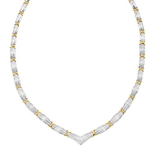 1/2 ct Diamond 'x' Link Necklace in 14K Gold-Plated Sterling Silver, 19'' by Finecraft