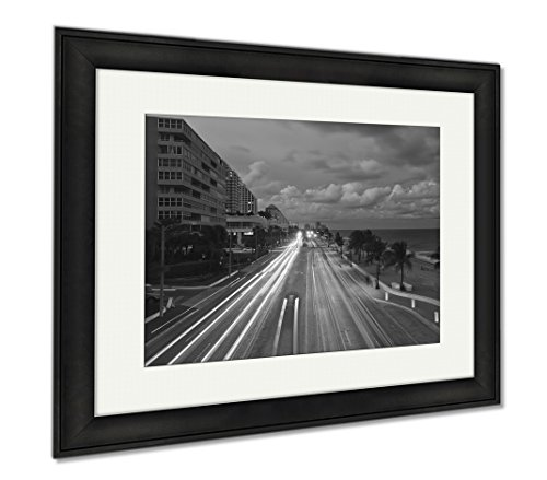 Ashley Framed Prints Fort Lauderdale Beach, Modern Room Accent Piece, Black/White, 34x40 (frame size), Black Frame, - Fort To Lauderdale Sunrise Florida