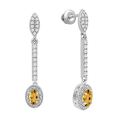 - Dazzlingrock Collection 10K 6X4 MM Each Oval Citrine & Round Diamond Ladies Halo Dangling Drop Earrings, White Gold
