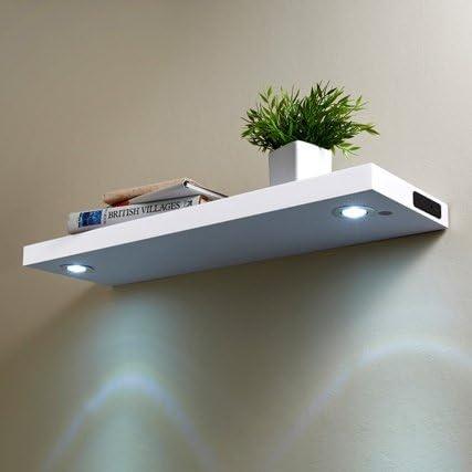 LED High Gloss Floating Wooden Wall Shelves 80CM White Black (White)