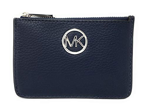 Michael Kors Fulton Small Top Zip Coin Pouch ID Card Case Wallet (Navy) (Coin Large Michael Kors)