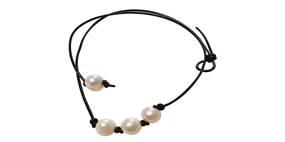2468ce73126ff Amazon.com: Leather Pearl Choker Necklace on Genuine Leather Cord ...