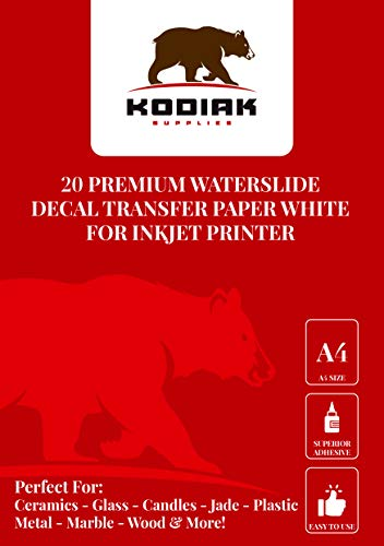 Great White Wild Slide - Kodiak Supplies A4 Waterslide Decal Paper INKJET WHITE - 20 Sheets - DIY A4 water slide Transfer WHITE Printable Water Slide Decals A4 20 Sheets (White)