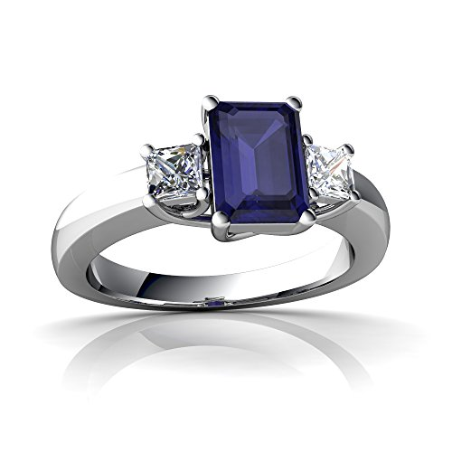 14kt White Gold Sapphire and Diamond 7x5mm Emerald_Cut Three Stone Trellis Ring - Size 5.5 (Ring Sapphire Trellis)