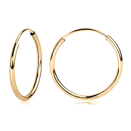 - 14k YG Endless Hoop Earrings 14mm 41350