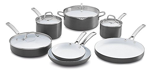 SPECIAL Classic Ceramic Nonstick Cookware Set 11 Piece Grey/White Stainless Steel Small